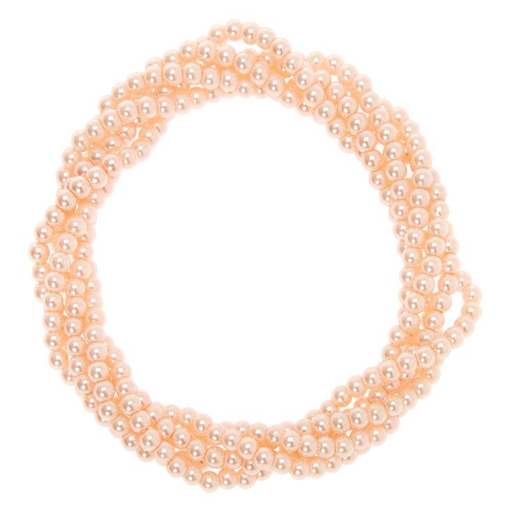 Bracelet élastique torsadé perle d'imitation - Rose tendre,