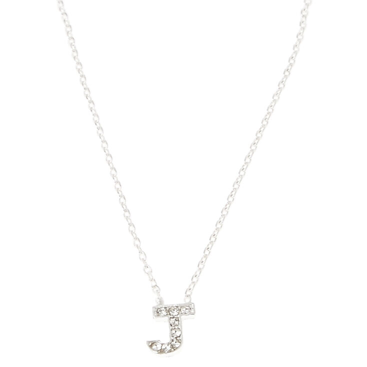 Silver Embellished Initial Pendant Necklace - J,