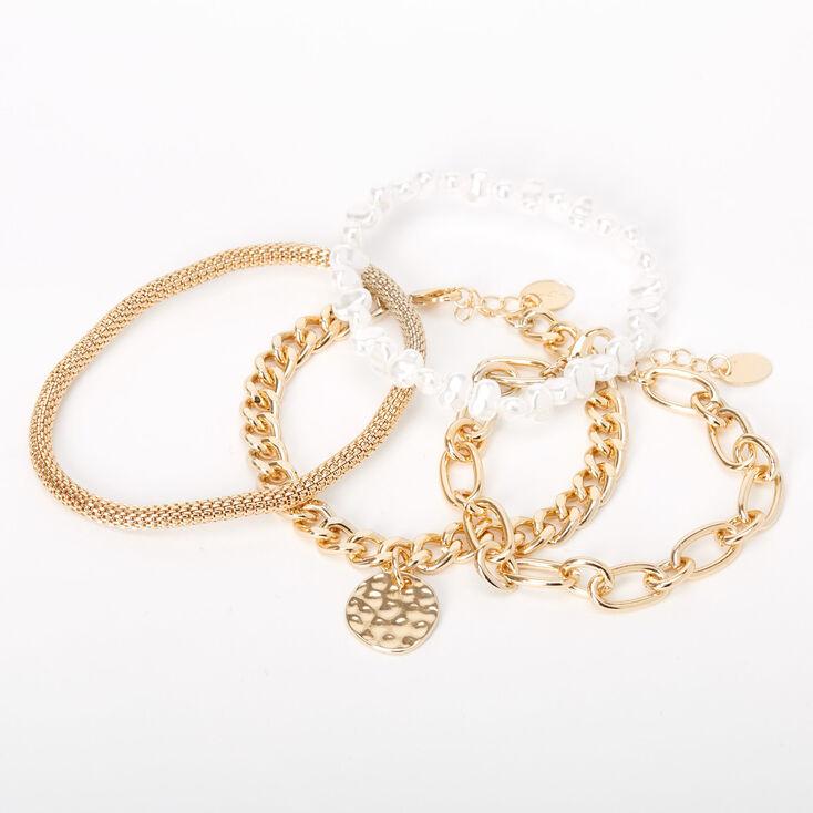 Bracelets divers à chaîne avec perles d'imitation couleur dorée - Lot de 4,