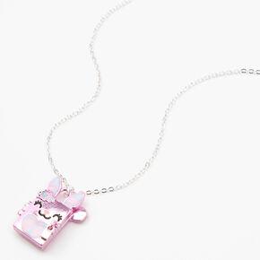 Claire's Club Bunny Locket Necklace - Pink,