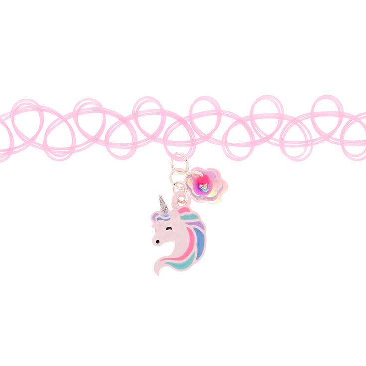 Unicorn Tattoo Choker Necklace - Pink,