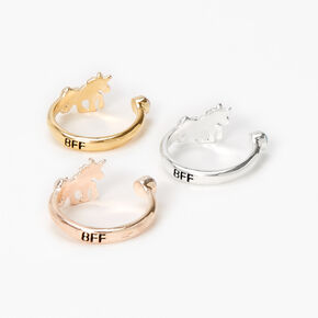 Mixed Metal Best Friends Open Unicorn Rings - 3 Pack,