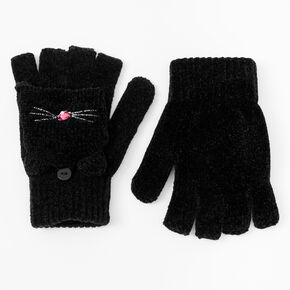 Cat Fingerless Gloves With Mitten Flap - Black,