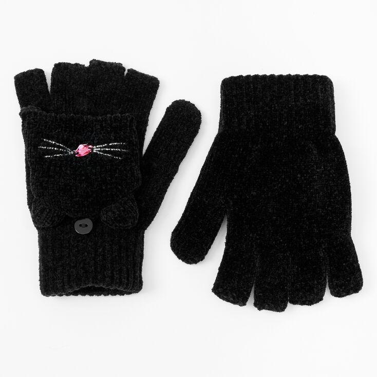 Cat Fingerless Gloves With Mitten Flap - Black,