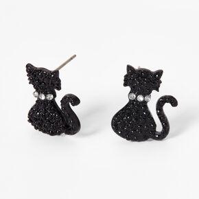 Black Cat Silhouette Stud Earrings,