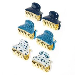 Mini pinces à cheveux imprimé aztèque - Bleu, lot de 6,