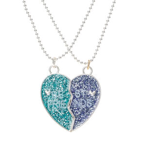 Best Friends Glitter Split Heart Pendant Necklaces,