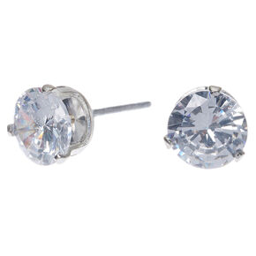 Silver Cubic Zirconia 7mm Round Stud Earrings