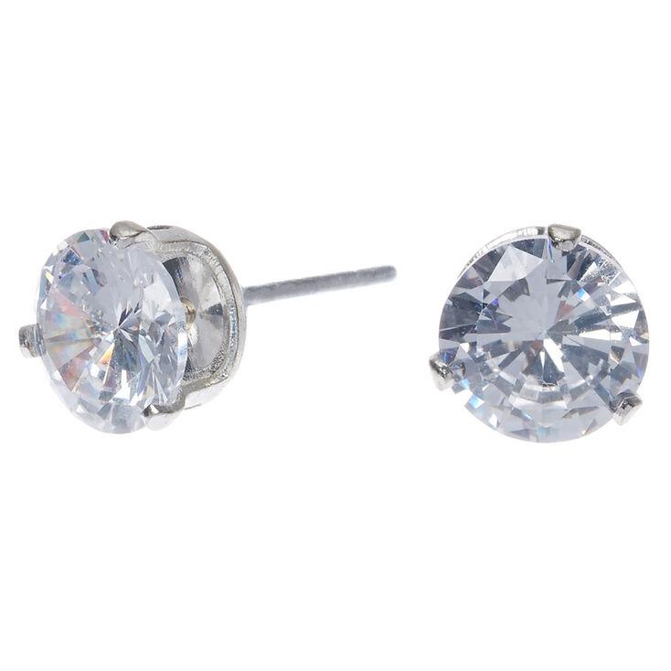 Silver Cubic Zirconia 7mm Round Stud Earrings