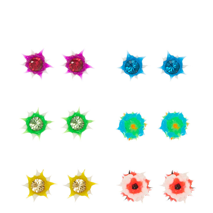 Neon Mini Rave Ball Stud Earrings,