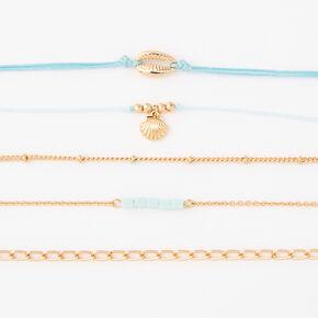 Bracelets chaînes coquillages variés couleur dorée - Vert menthe, lot de 5,