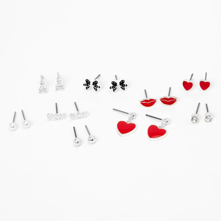 Silver Romance Party Stud Earrings - Red, 9 Pack,