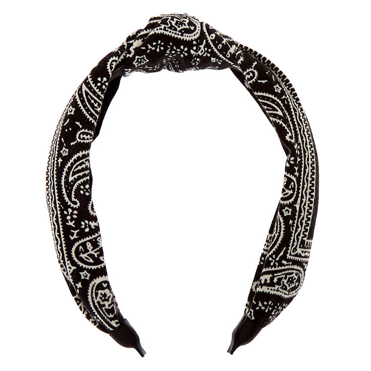 Bandana Knotted Headband - Black,