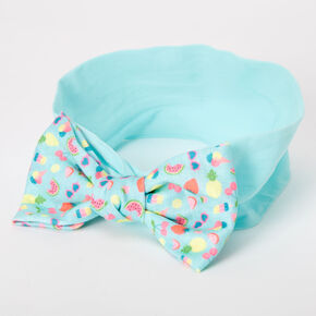 Claire's Club Knotted Bow Summer Fun Headwrap - Mint,