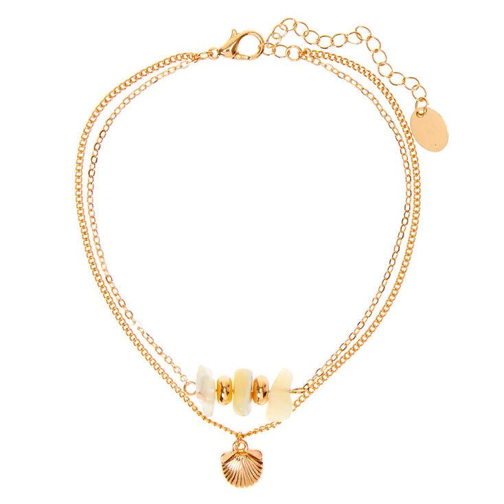 Gold Puka Chip Seashell Multi Strand Anklet,