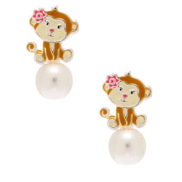 Claire's - sterling monkey pearl stud earrings - 1