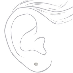Sterling Silver Cubic Zirconia 3MM Round Bezel Stud Earrings,