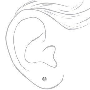Clous d'oreilles ronds biseautés 3mm zircon cubique d'imitation en argent,