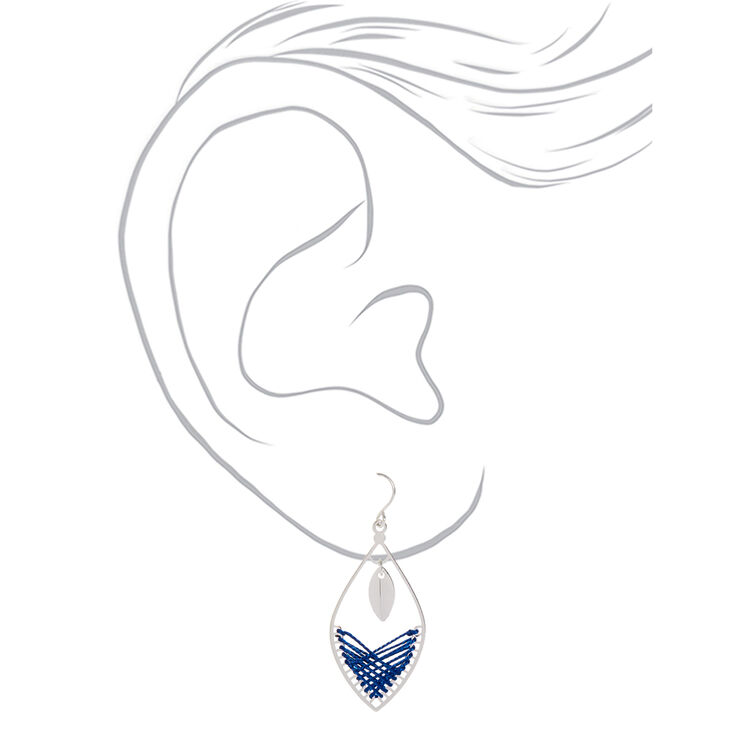 """Silver 1.5"""" Threaded Drop Earrings - Blue,"""
