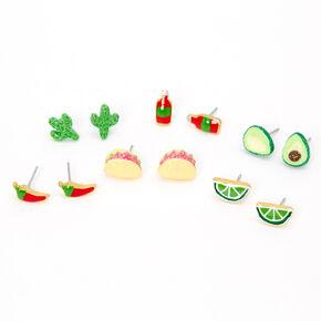 Mexican Food Stud Earrings - Green, 6 Pack,