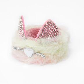 Bracelet enrouleur chat arc-en-ciel pastel en fausse fourrure,