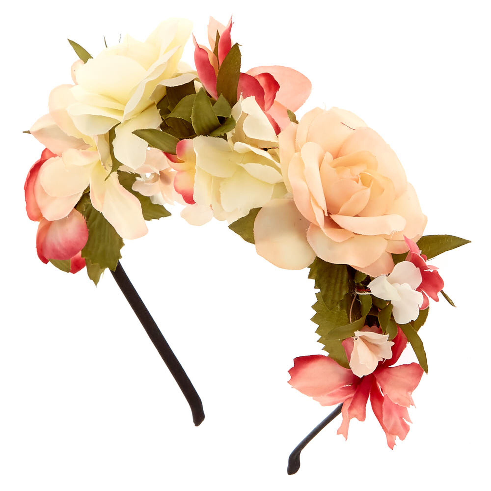 Ivory Pink Flowers All Over Headband, ...