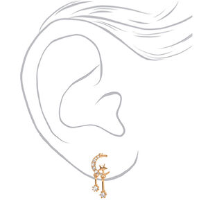 "Gold 1"" Celestial Drop Earrings,"