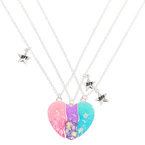 Silver Best Friends Pastel Heart Pendant Necklaces - 3 Pack,