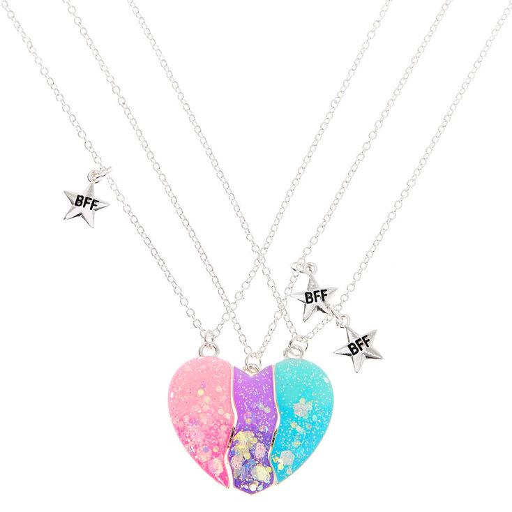 Silver Best Friends Pastel Heart Pendant Necklaces - 3 Pack,