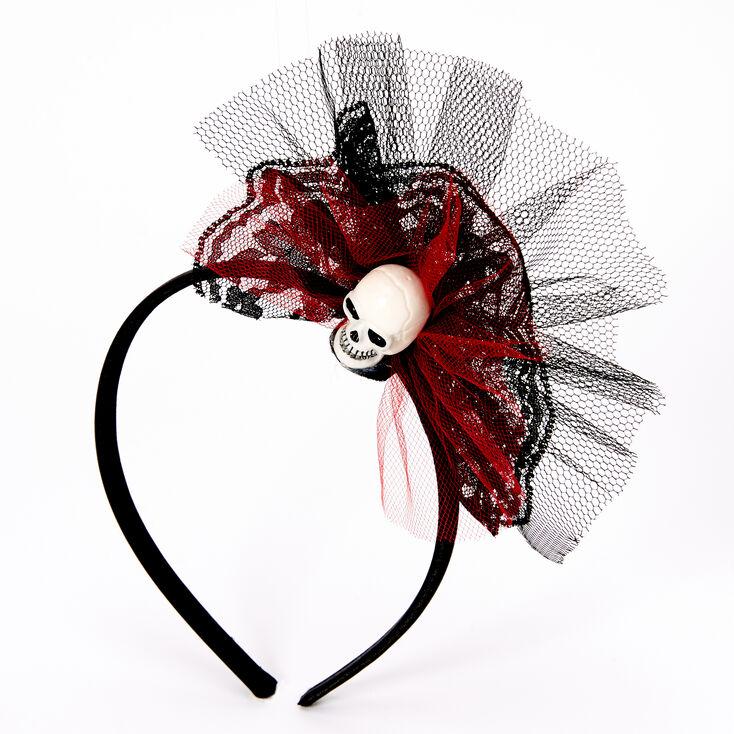 Black & Red Skull Tulle Headband,