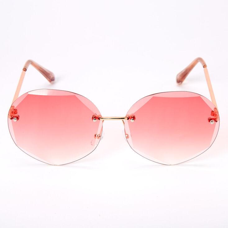 Beveled Octagon Rimless Sunglasses - Pink,