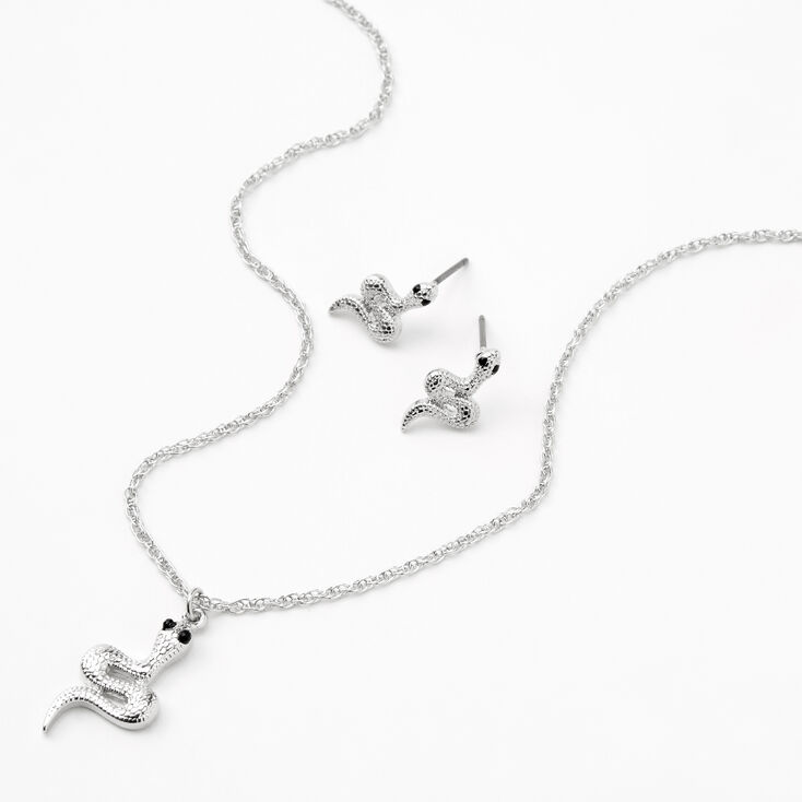 Silver Textured Snake Jewelry Set - 2 Pack,