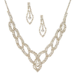 Silver Glass Rhinestone Woven Jewelry Set,