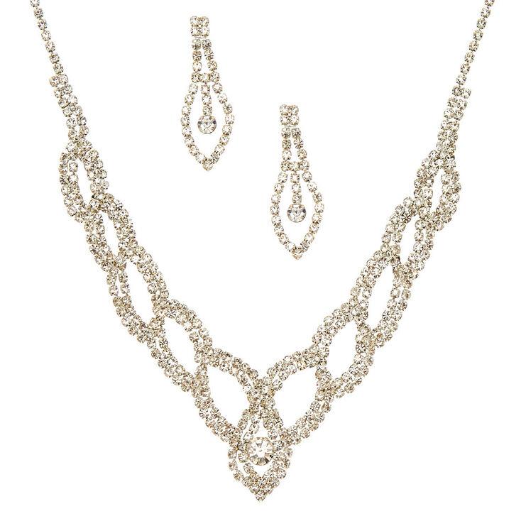 Silver Glass Rhinestone Woven Jewelry Set,