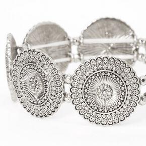 Bracelet élastique médaillon filigrane couleur argentée,