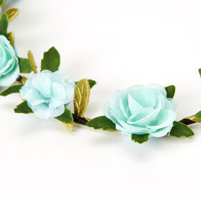 Leaves & Roses Flower Crown Headwrap - Mint,
