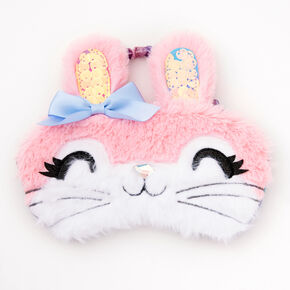 Fluffy Bunny Sleeping Mask - Pink,