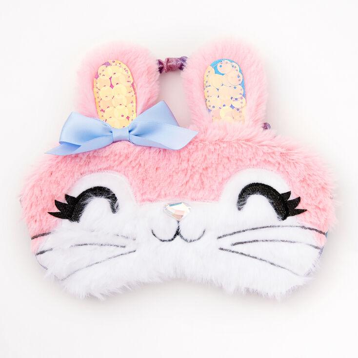 Fluffy Bunny Sleeping Mask - Pink,