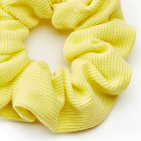 Medium Ribbed Hair Scrunchie - Lemon Yellow,
