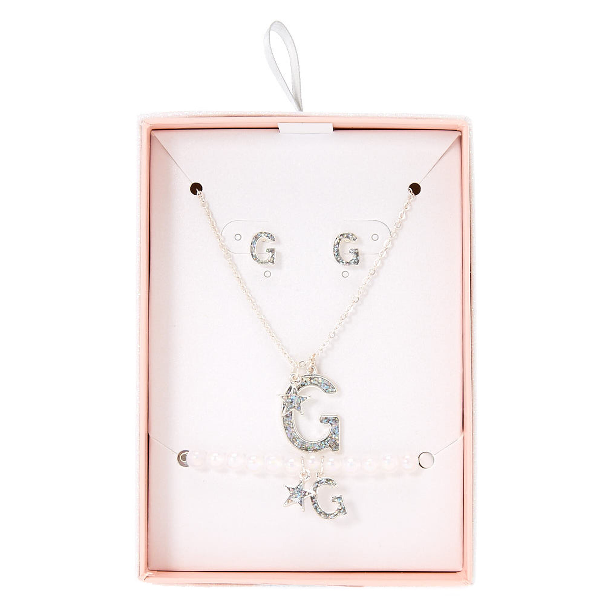 Silver Iridescent Glitter Initial Letter G Jewellery Set