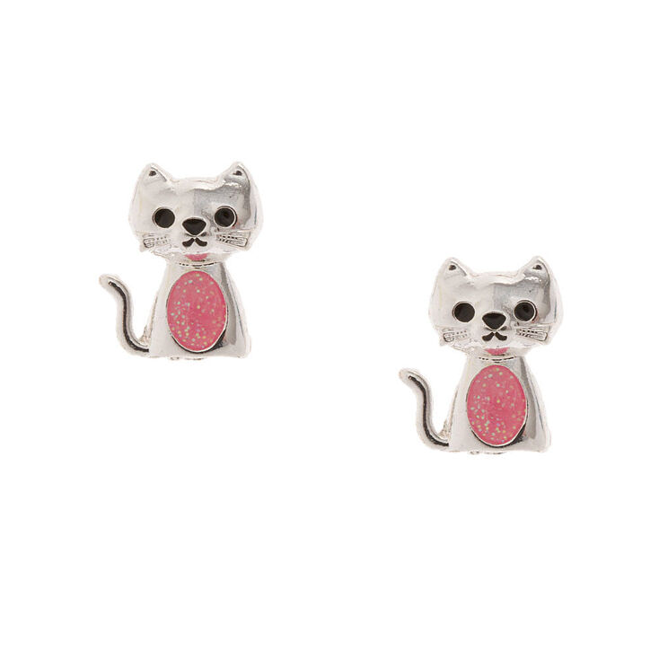 Silver Kitty Cat With Pink Glitter Belly Stud Earrings