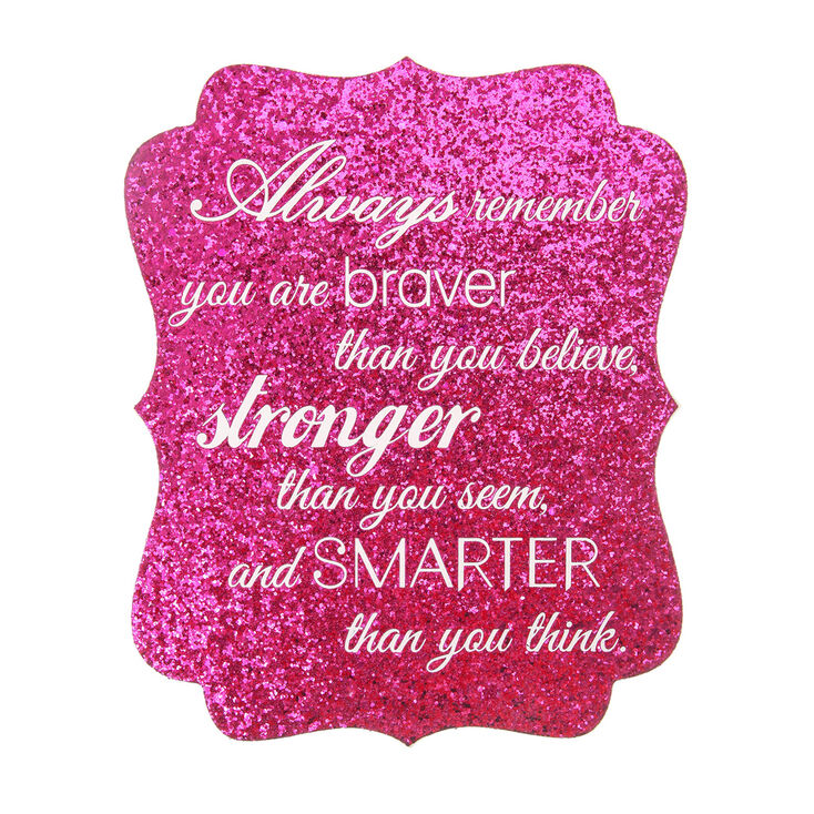 Glitter Quote Wall Canvas - Pink,