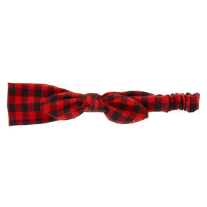 Buffalo Check Knotted Bow Headwrap - Red,