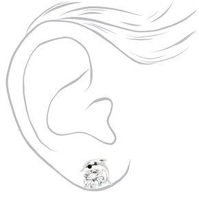 Silver Cubic Zirconia Dolphin Stud Earrings - 6MM,