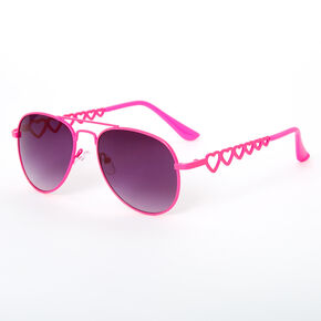 Claire's Club Aviator Sunglasses - Neon Pink,
