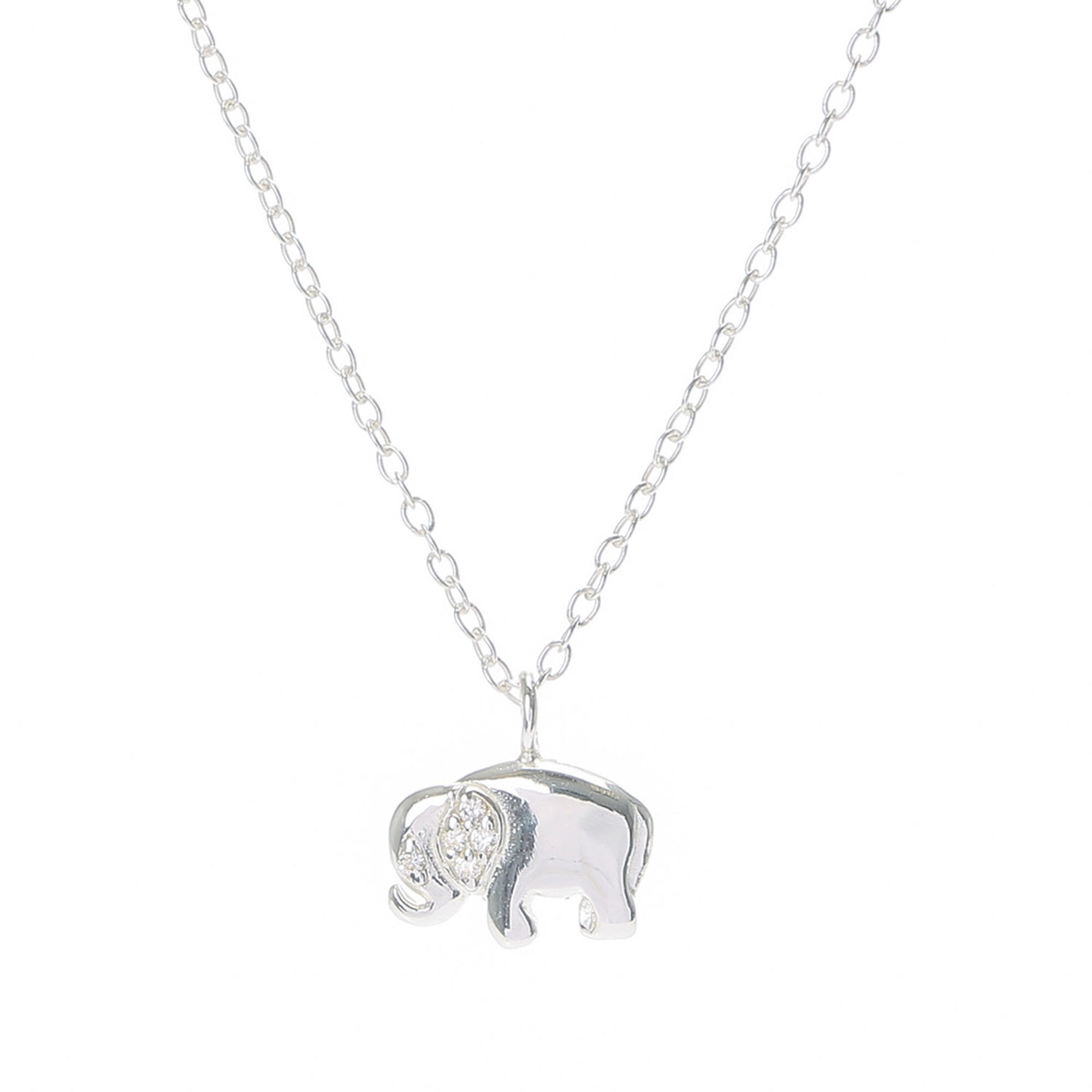 Sterling silver elephant necklace claires us sterling silver elephant necklace mozeypictures Image collections
