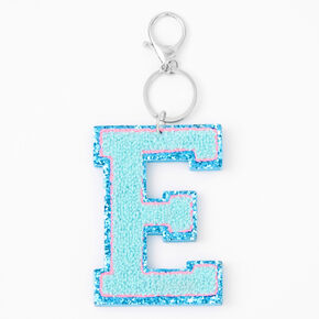 Blue Varsity Initial Keyring - E,