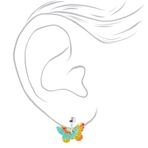 Tie-Dye Butterfly Clip-On Stud Earrings,