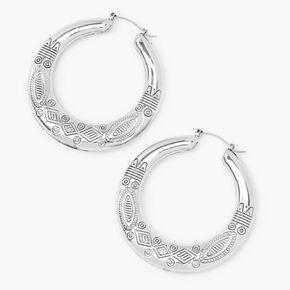 Silver 60MM Boho Hoop Earrings,