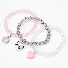 Claire's Club Glitter Panda Beaded Stretch Bracelets - 3 Pack,